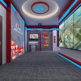 现代科技感消防队荣誉室展厅3D模型【ID:952825707】