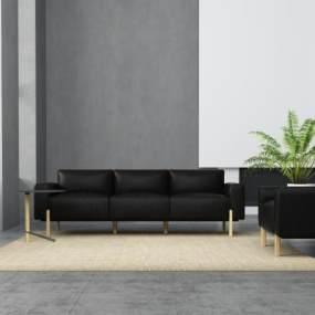現代黑色沙發組合3D模型【ID:645713726】