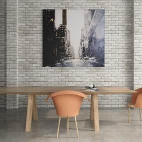 現代餐桌椅組合3D模型【ID:846890846】