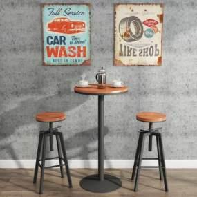 工业风格圆形钢木吧桌吧凳组合3D模型【ID:850185985】