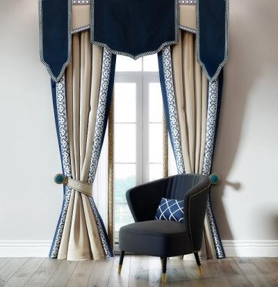 新古典奢华窗帘单椅组合3D模型【ID:234438634】