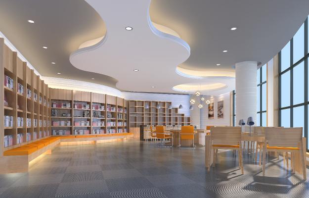 學校圖書館閱覽室3D模型【ID:941509865】
