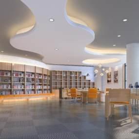 學校圖書館閱覽室 3D模型【ID:941509865】