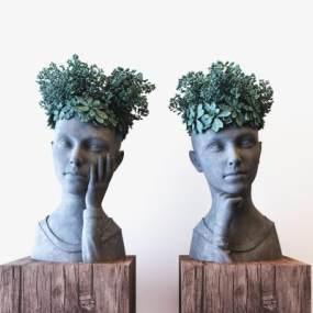 田园地中海抽象人头雕塑装饰摆件组合3D模型【ID:343877168】