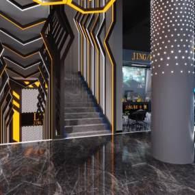 现代楼梯间入口网咖3D模型【ID:732559944】