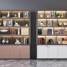 现代实木书柜3D模型【ID:153022558】