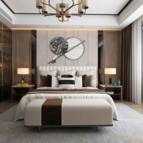 新中式臥室3D模型【ID:544145278】