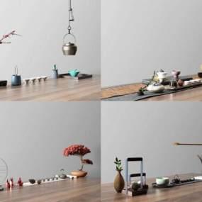 新中式茶具摆件组合3D模型【ID:234916567】