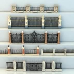 欧式围墙大门院墙围墙3D模型【ID:236270113】