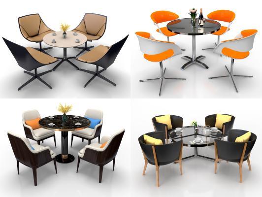 现代圆形洽谈餐桌椅组合3D模型【ID:744029195】