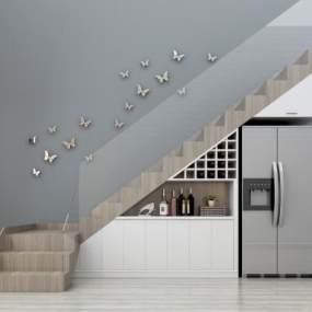 现代楼梯装饰柜冰箱墙饰组合3D模型【ID:330543544】
