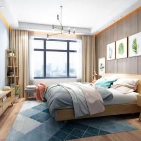 北欧风格卧室3D模型【ID:533185287】