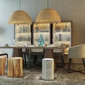 现代餐桌椅3D模型【ID:831984886】