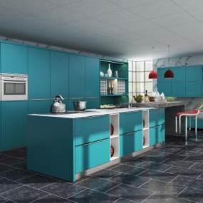 现代橱柜现代厨房3D模型【ID:132753705】