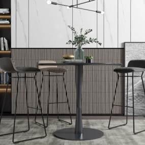 现代吧台吧椅吊灯组合3D模型【ID:747085280】