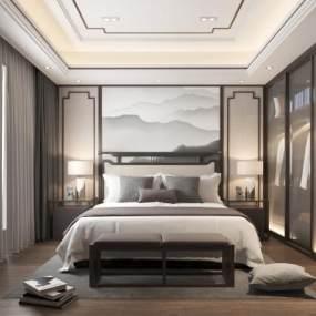新中式卧室3D模型【ID:535919223】
