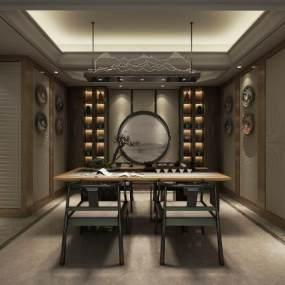 中式茶室空间3D模型【ID:636083194】