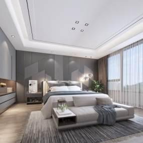 现代卧室3D模型【ID:553936246】