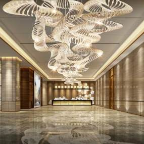 新中式酒店大堂3D模型【ID:753485042】
