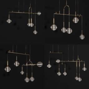 現代輕奢吊燈組合3D模型【ID:748569856】