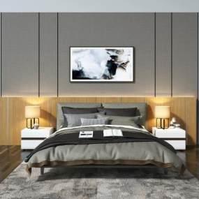 现代床头背景墙 3D模型【ID:640782185】