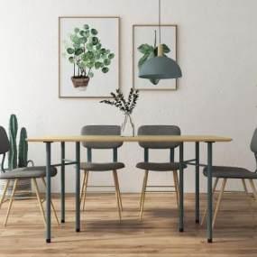 北欧桌椅组合 3D模型【ID:841705852】