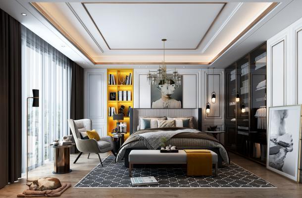 現代臥室3D模型【ID:545723288】