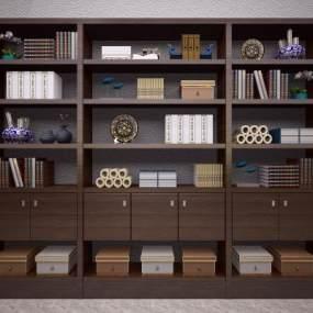 新中式书柜3D模型【ID:130682585】