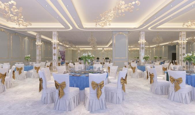 歐式酒店宴會廳3D模型【ID:643014286】