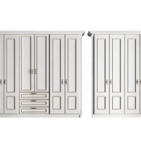 欧式简约实木衣柜组合3D模型【ID:135608475】