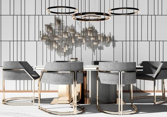 现代餐桌组合3D模型【ID:747313155】