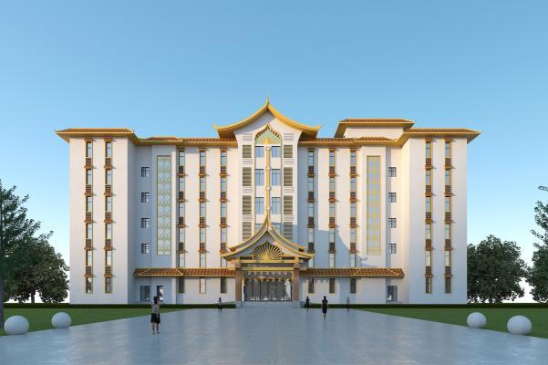版納風格酒店3D模型【ID:147026959】