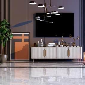 现代电视柜 3D模型【ID:941617903】