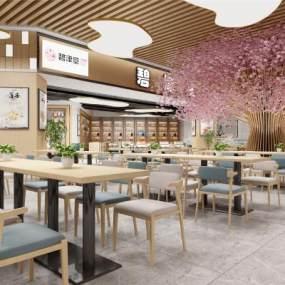 現代風商場飲食區3D模型【ID:651927216】