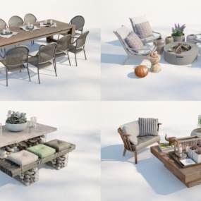 現代庭院餐桌組合3D模型【ID:851145859】