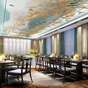 新中式酒店多功能宴会厅3D模型【ID:747411275】