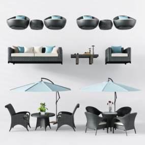 现代户外藤编桌椅沙发茶几3D模型【ID:630497700】
