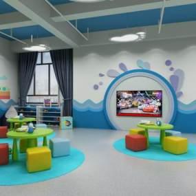 现代幼儿园活动室 3D模型【ID:940828693】