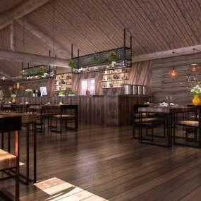工业风主题餐厅3D模型【ID:643299218】