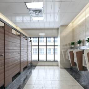 现代简约公共卫生间男厕所3D模型【ID:432769136】