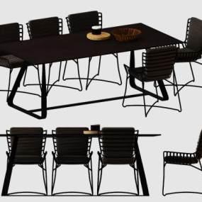 現代鐵藝休閑桌椅組合 3D模型【ID:841649938】