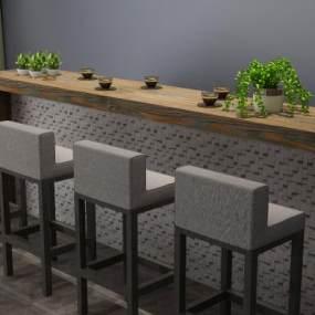 现代吧台吧椅餐桌3D模型【ID:930752289】