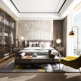 现代卧室3D模型【ID:534671289】