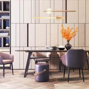 现代餐桌餐椅组合3D模型【ID:735790122】