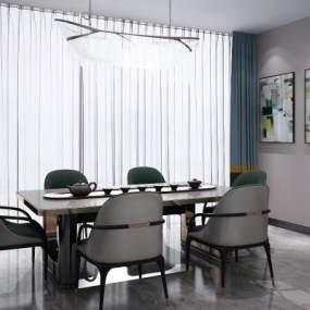现代北欧餐桌椅吊灯组合3D模型【ID:836088890】
