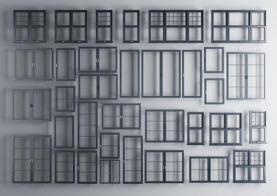 現代鋁合金窗戶窗框組合3D模型【ID:331618207】
