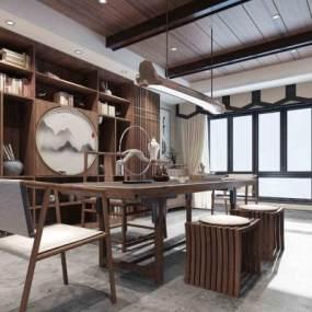 新中式书房茶室3D模型【ID:535435466】