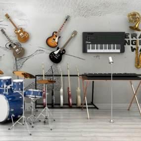 现代乐器组合3D模型【ID:334970907】