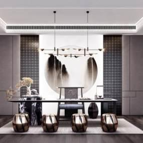 新中式茶室3D模型【ID:645160156】
