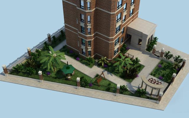 現代庭院設計3D模型【ID:131350435】